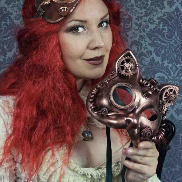Katze-Maske mit Binokular, Zahnrädern und Kabel - Bronze