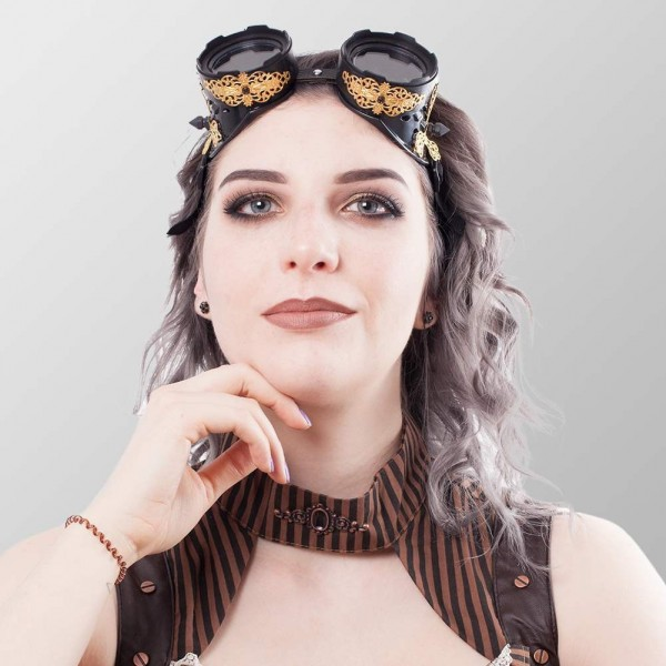 Steampunk Brillen mit Goldenen Ornamente auf beiden Seiten in Schwarz Schweißerbrille Schwarz