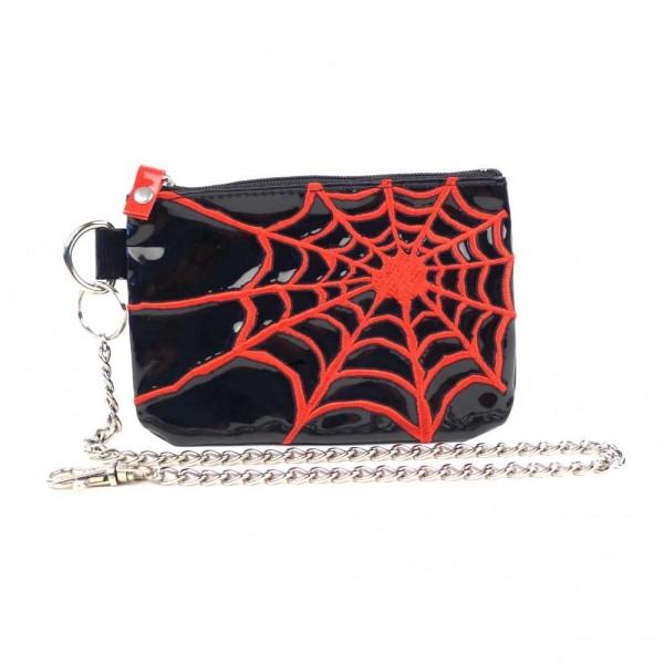 Münzbörse mit Kette und Rotem Spinnennetz