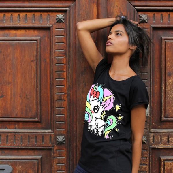 Dark World Regenbogen Einhorn T-Shirt