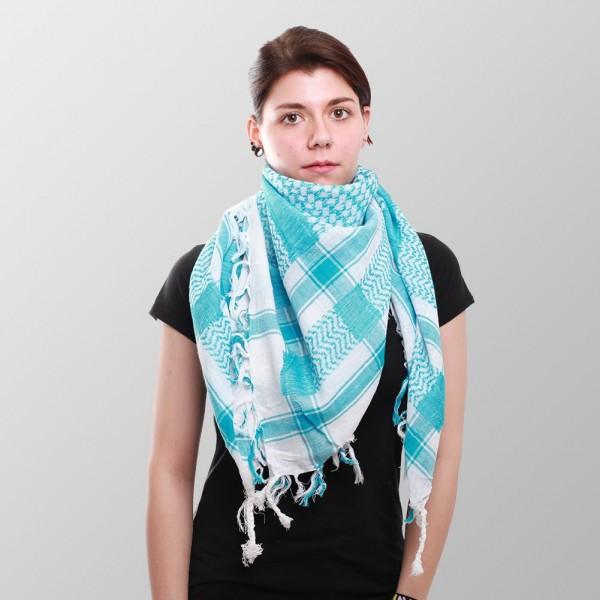 Palestinenser Halstuch in Weiß Türkis Gewebtem Muster