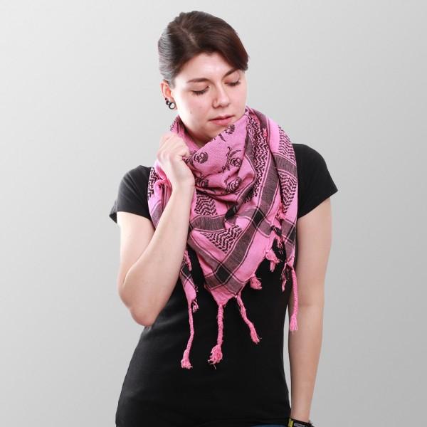 Pink Farbenes Arafat Halstuch mit Eingewebten Schwarzen Piraten Muster