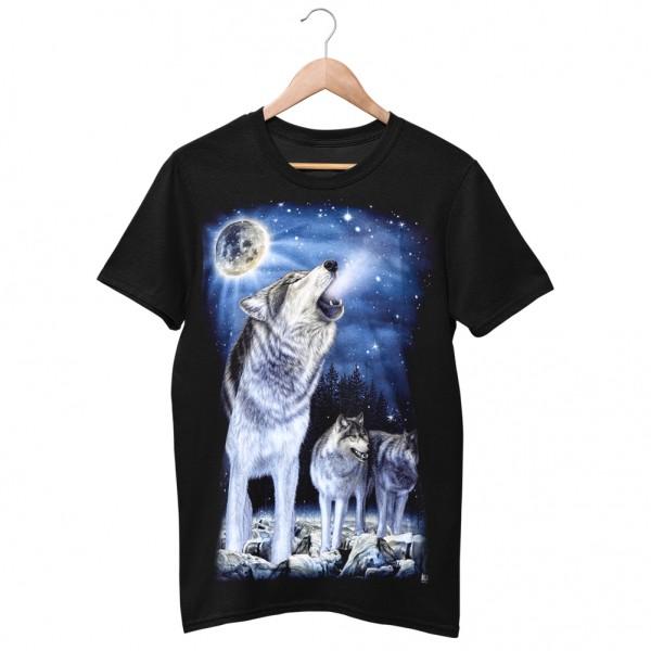 Wild Motiv Shirt Schwarz Wölfe auf der Jagd im Mondlicht