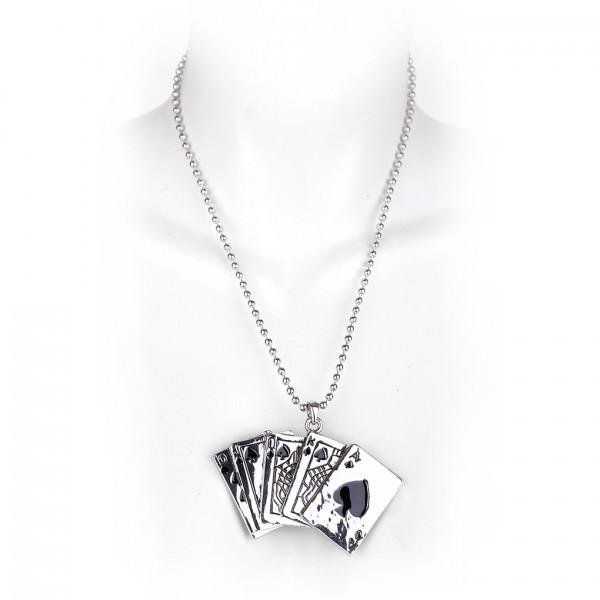 Metallkette mit Anhänger - Kartenspiel