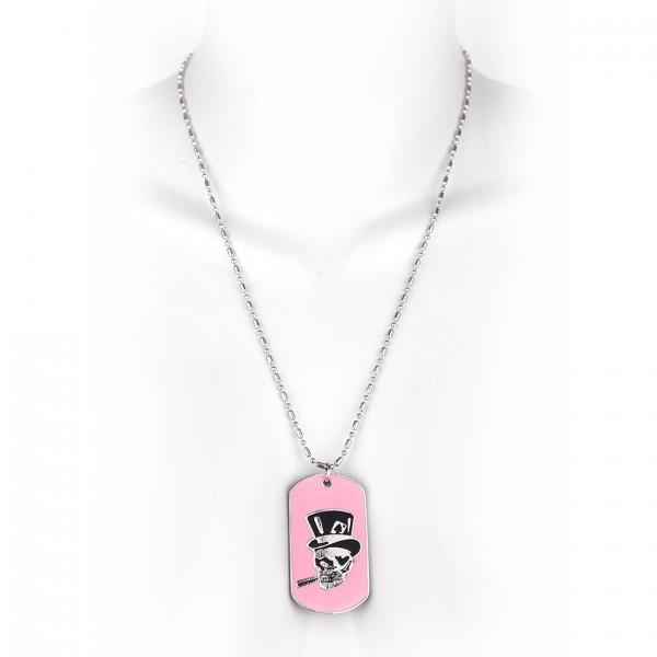 Metallkette mit Dog Tag (klein) - Totenschädel mit Hut - Pink