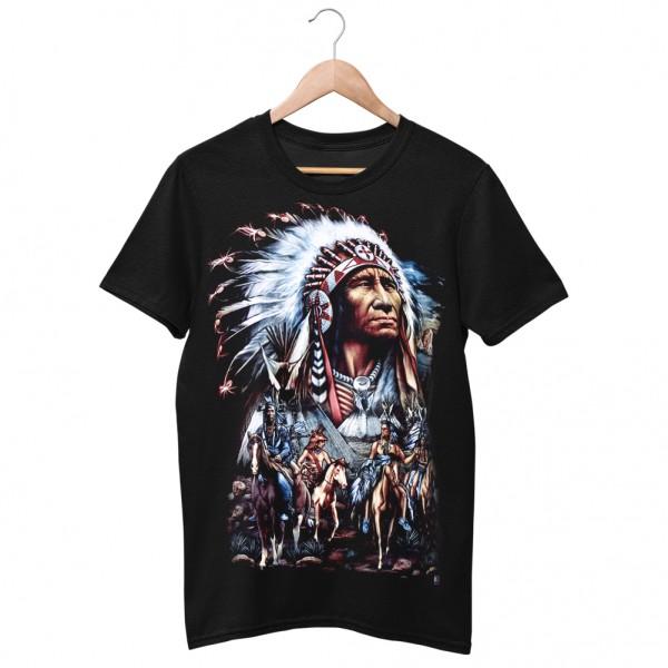 Wild Motiv Shirt Schwarz Indianer