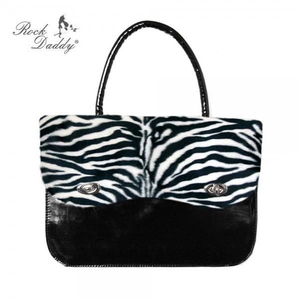 Zebra Fell Handtasche mit Abgesetztem Schwarzen Lack