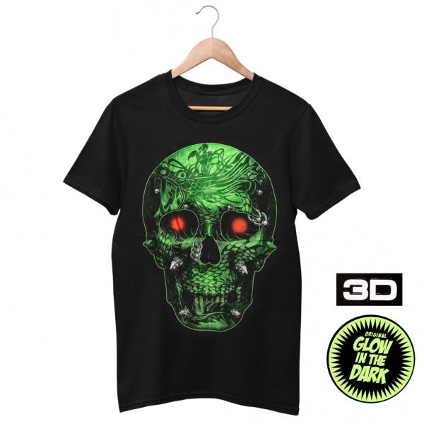Wild Glow in the 3D Piercing Totenkopf T-Shirt