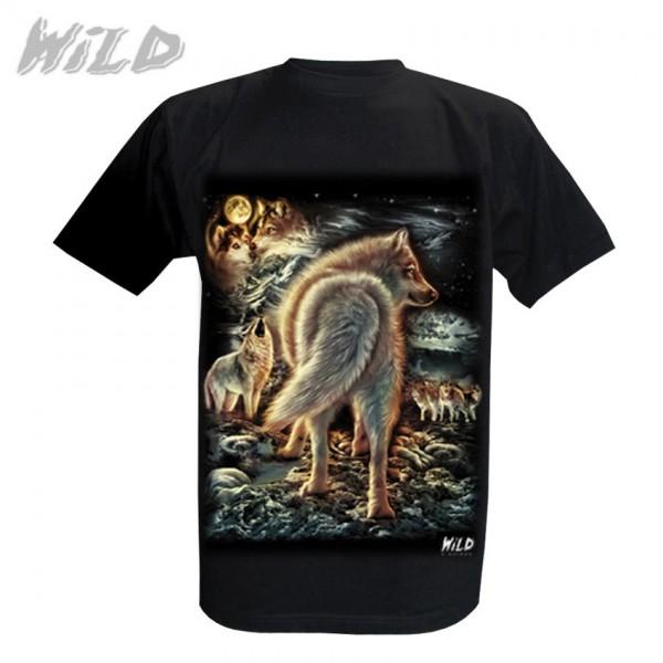 Wild Motiv Shirt Schwarz Heulendes Winter Wolfsrudel