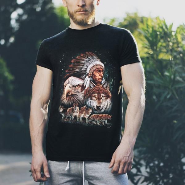 Wild Motiv Shirt Schwarz Indianer in Lebender Freiheit im Rudel
