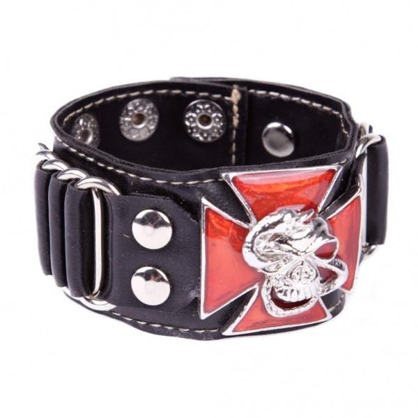 Kunstleder Armband mit metallschnalle - Totenkopf mit Schlange auf Eisernem Kreuz - Rot