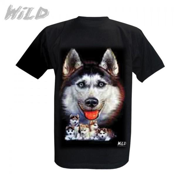 Wild Motiv Shirt Schwarz Schneewolf in der Wildnis
