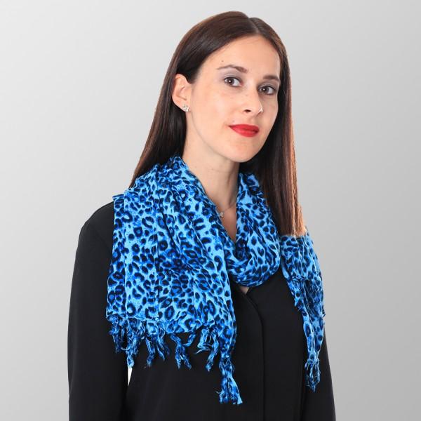 Blaues Tuch mit Leoparden Druck