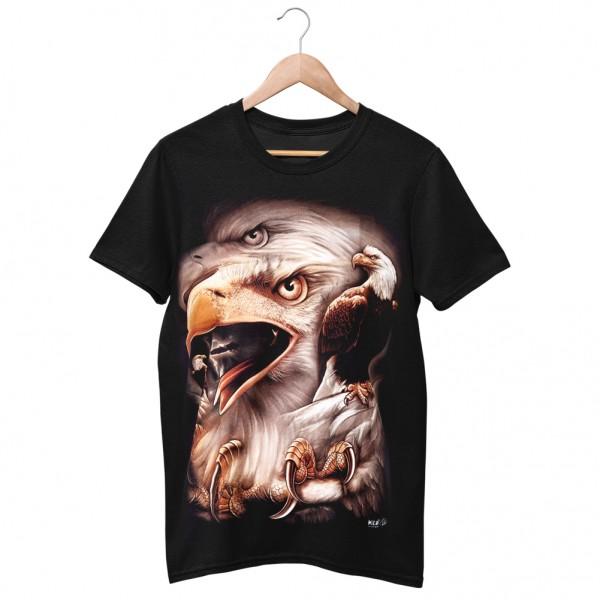 Wild Motiv Shirt Schwarz Auf der Jagd mit dem Adler