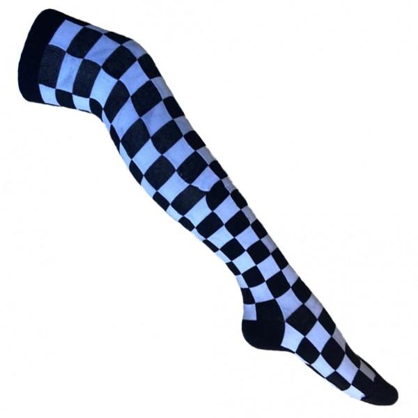 Karierte Overknee Socken Überknie Socken Weiß Schwarz Kariert Schachbrett Unisize