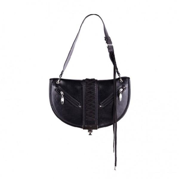 Schwarze Rockige Damen Handtasche in Biker Optik