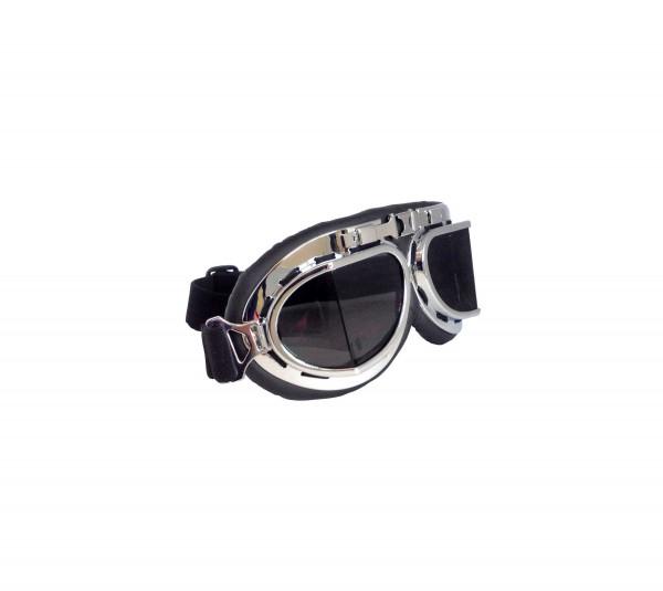 Hochwertige Fliegerbrille im Vintage Retro Design mit Schwarzen Gläßern