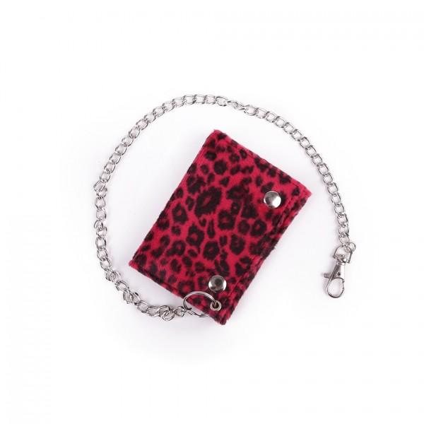 Roter Leoparden Fell Geldbeutel mit Kette in Rot Unisex