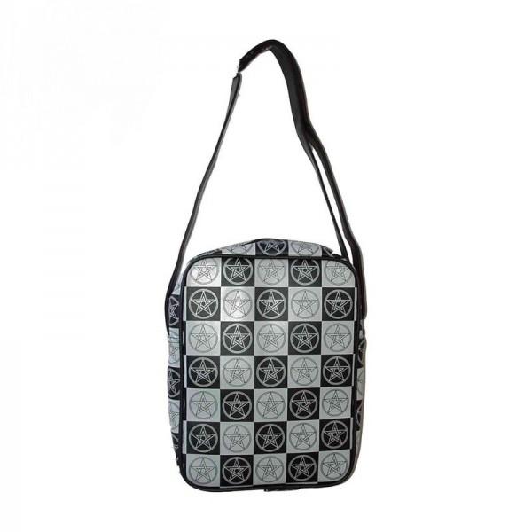Pentagramm Schultertasche in Grau Schwarz