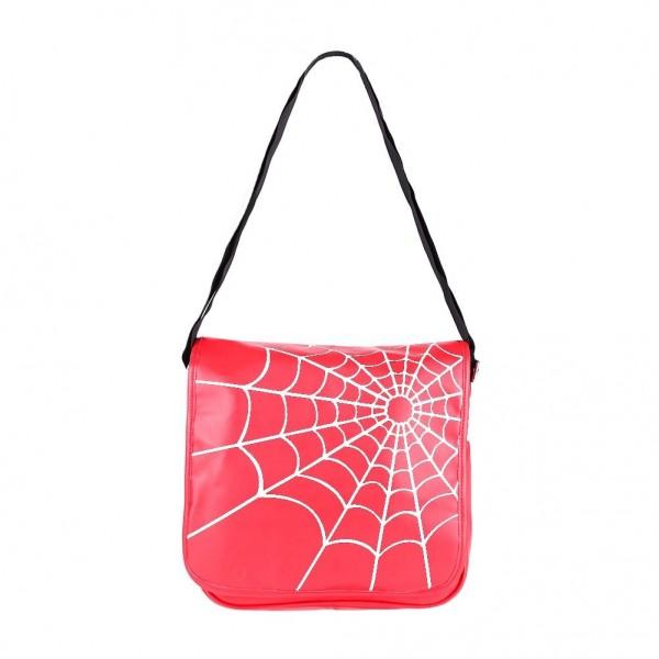 Tasche in rot mit einem Weißen Spinnennetz