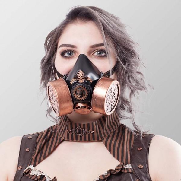 Steampunk Gasmaske mit Spikes und Zahnrädern Gasmaske Schwarz