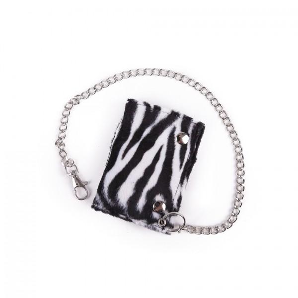 Unisex Zebra Fell Optik Geldbörse mit Kette aus Metall