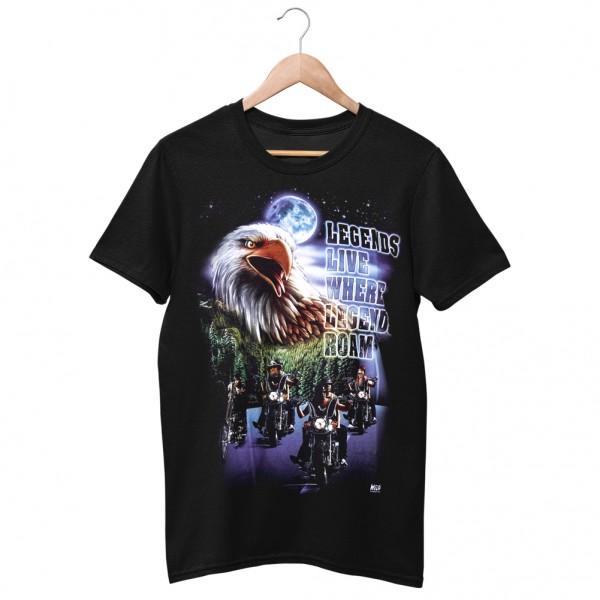 Wild Motiv Shirt Schwarz Legenden Leben wo Legenden Umherstreifen