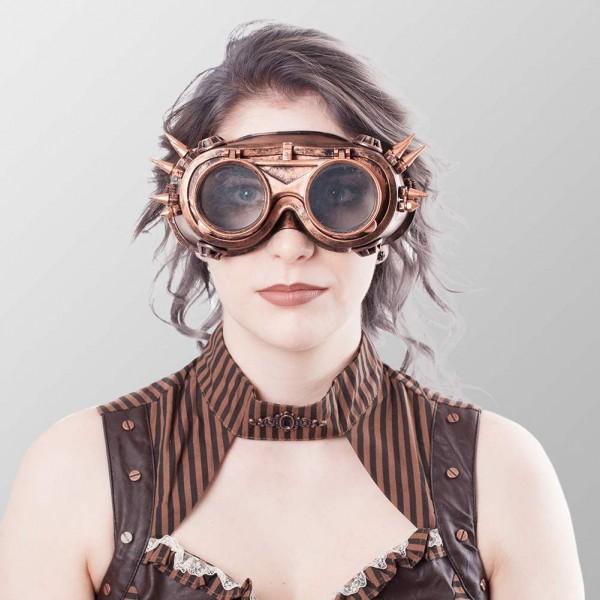 Brillen mit Spitzen auf beiden Seiten und ausklappbarer Front Endzeit Cosplayer Brille