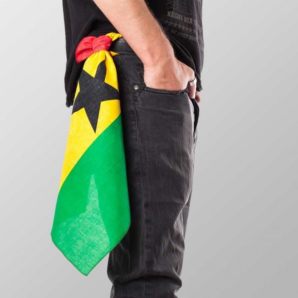 Bandana Halstuch Multicolor Ghanesische Flagge 55 cm x 55 cm
