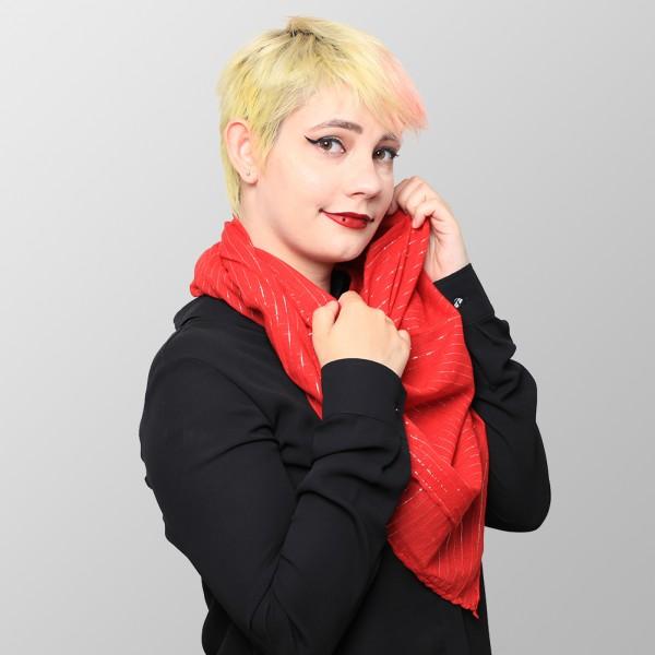 Rotes Lurextuch aus Baumwolle in Uni Farben