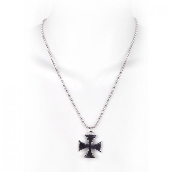 Metallkette mit Anhänger - Eisernes Kreuz in Schwarz
