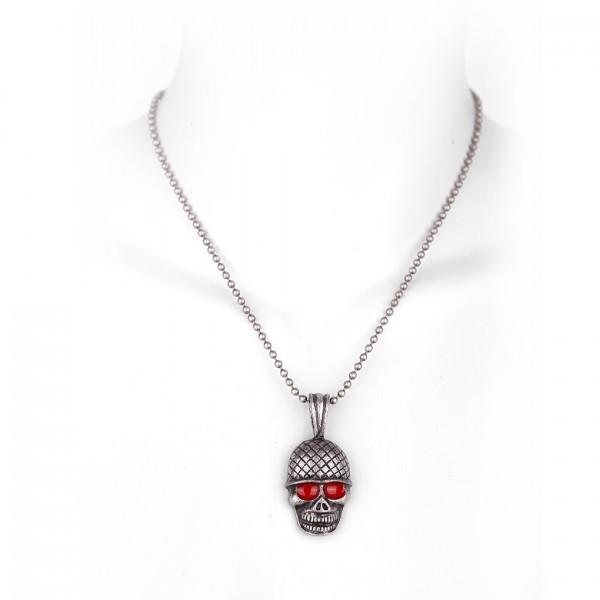 Metall Halskette mit Totenkopf Anhänger - Silber