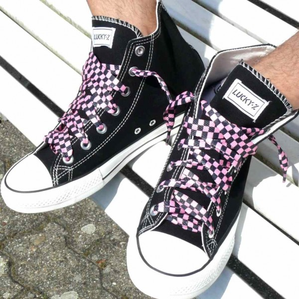 Schwarz Pink Karierte Schnürsenkel