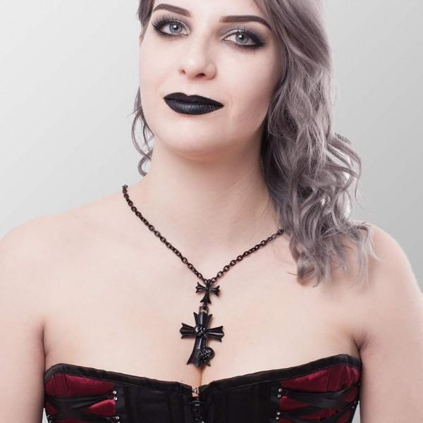 Metall Halskette mit Totenköpfen auf Kreuz