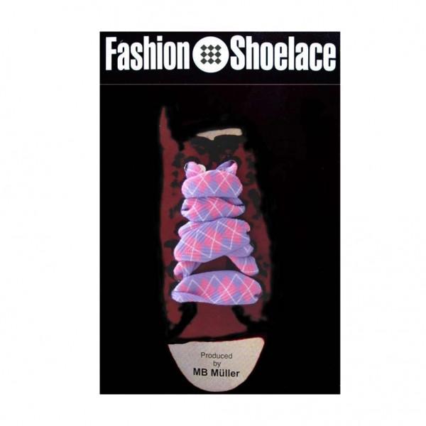 Schnürsenkel in lila/pinken Rautenmuster im Verkaufsdisplay