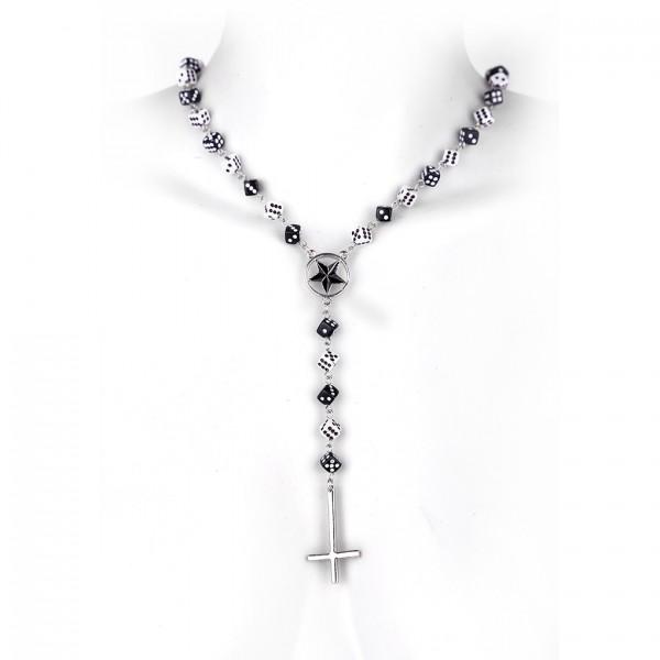 Würfel Halskette mit umgedrehtes Kreuz Anhänger