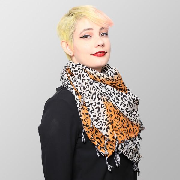 Halstuch Bicolor in Leoparden Optik Braun Weiß