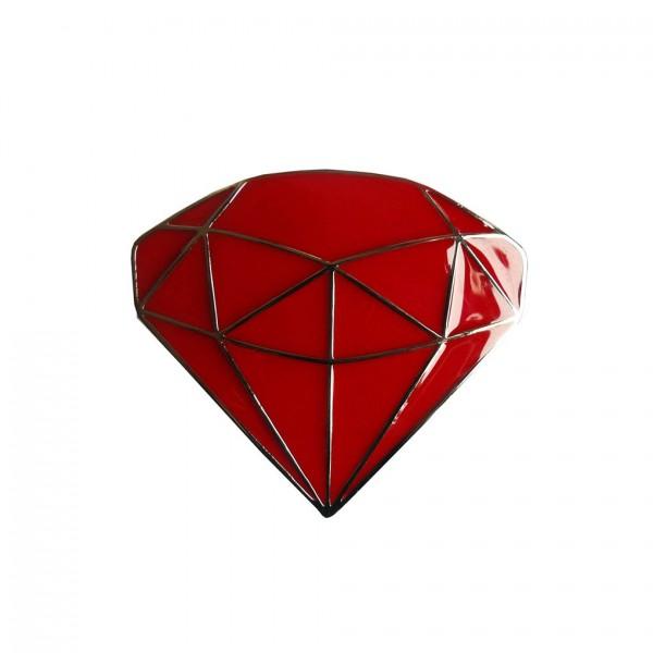 Rote Rhodium Diamant Gürtelschnalle