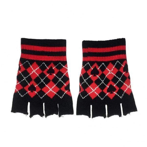 Pik Handschuhe im Rauten Design ohne Finger
