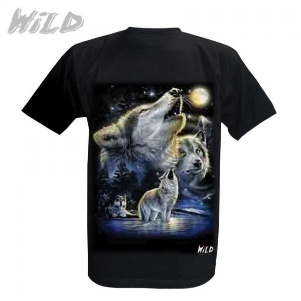 Wild Motiv Shirt Schwarz Heulender Wolf in der Prärie