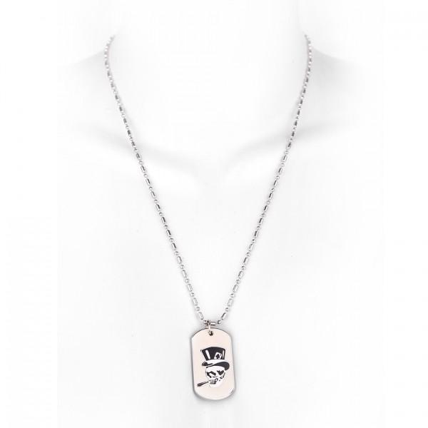 Metallkette mit Dog Tag (klein) - Totenschädel mit Hut - Weiß
