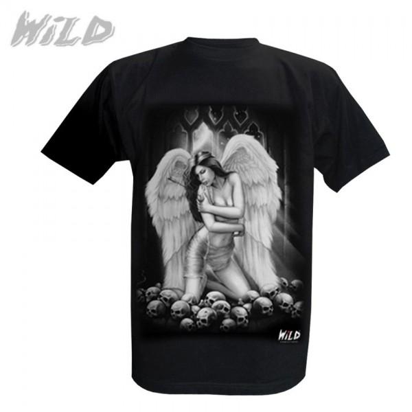 Wild Motiv Shirt Schwarz Todesfee im Totenschädel Meer