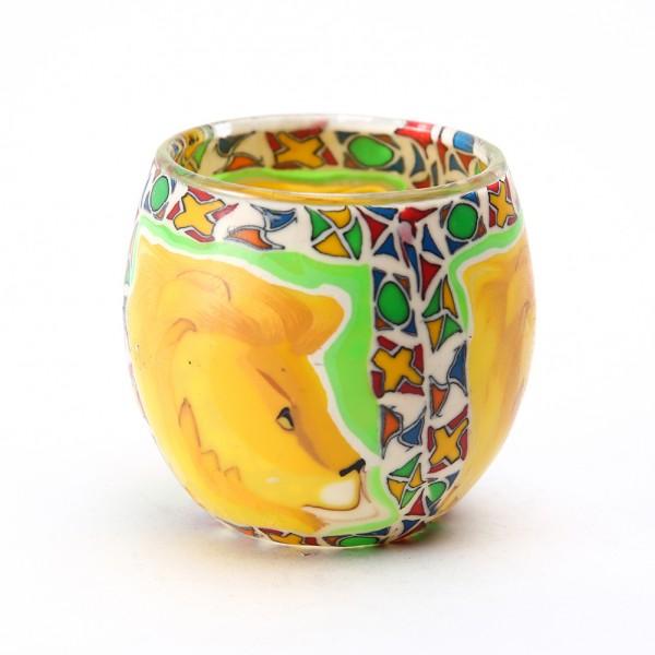 Fimo Glaswindlicht handgemacht gelb mit Löwen und afrikanischem Muster