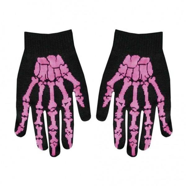 Gewebte Winter Handschuhe Creepy Skelett Pink Design