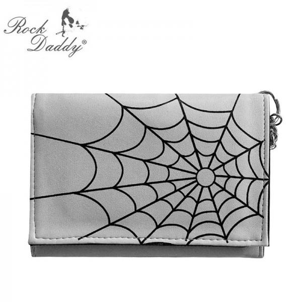 Weiße Kunstleder Geldbörse mit Aufgedrucktem Schwarzen Spinnennetz