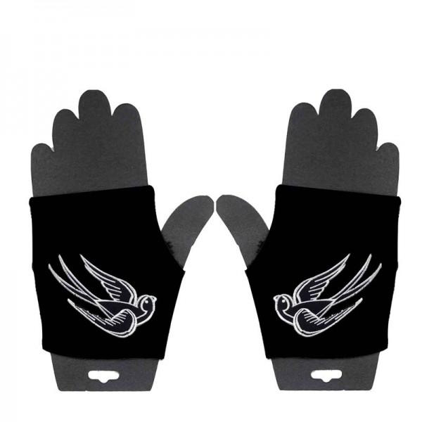 Fingerlose Handschuhe mit Eingewebten Schwalben