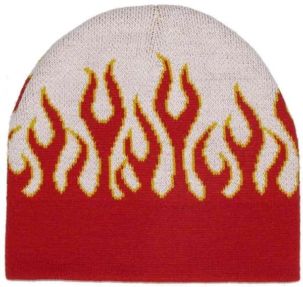 Weiß Roter Snowboard Unisex Flammen Beanie