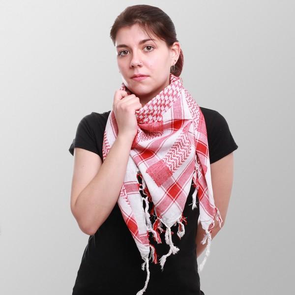 Arafat Halstuch in Rot Weiß Gewebtem Muster