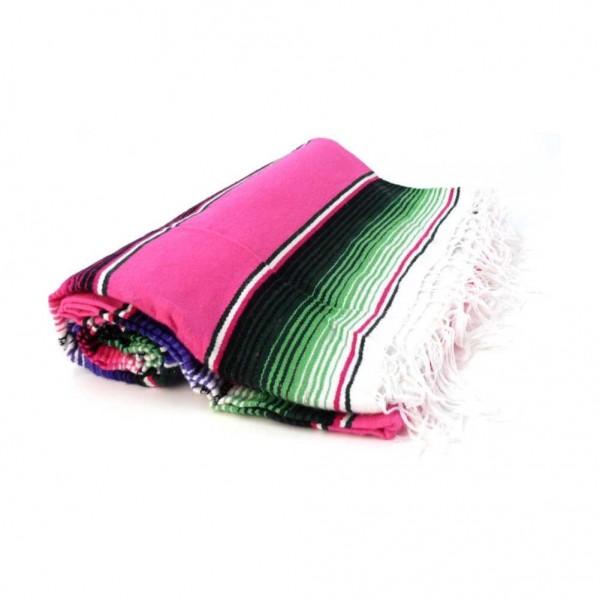Rosafarbene Gestreifte Sarape Mexico Decke Handgewebt