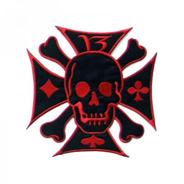 Iron Cross Biker Skull Patch